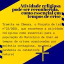 ATIVIDADE RELIGIOSA PODE SER RECONHECIDA COMO ESSENCIAL EM TEMPOS DE CRISE